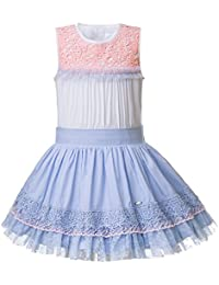 Lajinirr Blue Lace Girl Dress con Sombreros Hechos a Mano