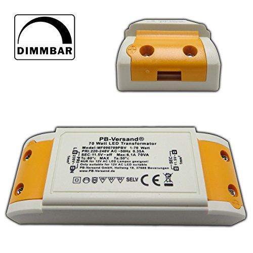 LED Trafo 1 - 70 Watt 12V~ AC (klein und kampakt) - Transformator - Hochleistungstrafo für G4, GU5.3, MR16, MR11 Spots und mehr Test