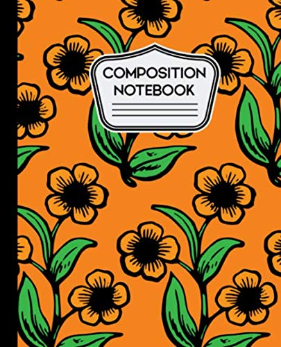Composition Notebook: Sunflowers on Orange Background 7.5