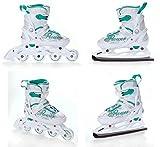 Croxer 2in1 Schlittschuhe Inline Skates Inliner Flower White/Green Verstellbar Größe: 37-40