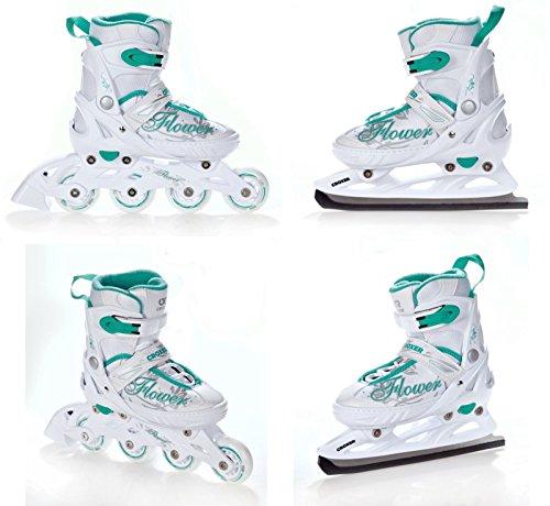 2in1 Schlittschuhe Inline Skates Inliner Croxer Flower White/Green verstellbar