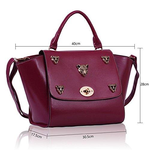 TrendStar Womens Ledertaschen Damenmode, Designer Handtaschen Schulter-New Klappe Über Promi-Schultaschetote Lila