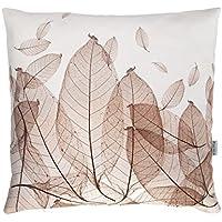 Blätterkissen taupe (helles graubraun), Kissenhülle, 50x50cm, reine Baumwolle