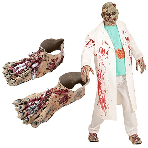 NET TOYS Gruselige Zombie Füße Monster Schuhstulpen Frankenstein Schuhüberzieher Ungeheuer Überschuhe Bestie Horror Verkleidung Zubehör Halloween Kostüm Accessoires