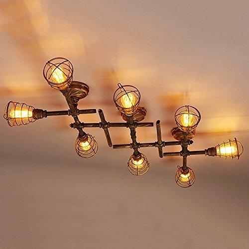 Industrie-leuchtstofflampen (MOMO American Loft Retro Industrie Stil Kreative Wasserpfeife Eisen Deckenleuchte, Deckenleuchte für Korridor, Gang, Balkon, Bar, Theme Restaurant,EE)