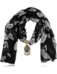 Scarf Necklace Black Crystal & Viscose Strand Necklace For Women (PS676)