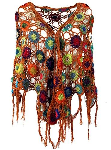 Guru-Shop Häkelstola, Hippie Blümchen Häkelschal, Herren/Damen, Rostorange, Baumwolle, Size:One Size, Schals Alternative Bekleidung