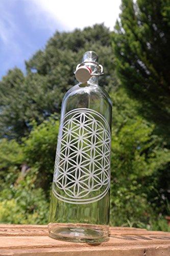Freiglas Gourde en verre de 1 l - Motif Fleur de vie - Fabriquée en Forêt Noire
