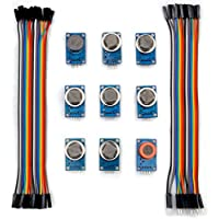 Kuman K24 arduino sensor kits MQ2 MQ3 MQ4 MQ5 MQ6 MQ7 MQ8 MQ9 MQ135 kit Diy for Arduino with jumper cables