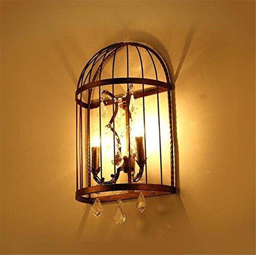HAIYUANNAN Industrielle Vintage Wandleuchte Schmiedeeisen Vogelkäfig Kristall Wand Lampe für Wohnzimmer Schlafzimmer Flur Retro Loft Doppel Kopf Wand Montage Licht Leuchten Beleuchtung Befestigung