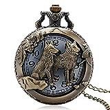 Cikuso Grande Orologio da Taschino con Cane Zodiaco in Bronzo Scolpito in Bronzo