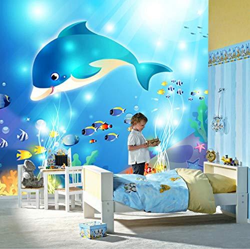 VVNASD 3D Wand Tapete Wandbilder Aufkleber Dekorationen Personalisierte Moderne Unterwasser Delphin Kinderzimmer Schlafzimmer Drucke Kunst Kinder Tv (W) 200X(H) 140Cm Weiße Unterwasser System