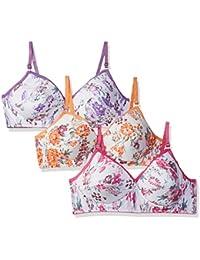 Fabme Women's Padded Floral Print White Bra (Pink, Orange, Purple)