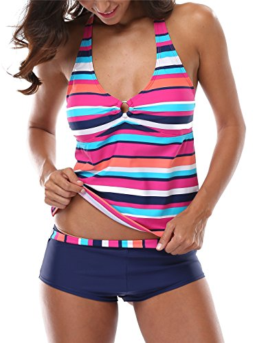 CharmLeaks Damen Bikini Streifen Neckholder Figurumspielendes Tankini Mit Hotpants Regenbogen Serie Regenbogen