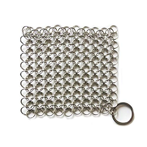 Xiton Cast Iron Cleaner Cast Iron Skillet Cleaner Chainmail Edelstahl 316L Pot Cookware Chainmail Scrubber Skillet Scraper 1Pc Silver -