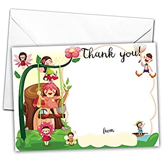 All-Ways Design Pack of 20 GLOSSY Party Thank You Cards Fairy with 20 x Envelopes for Kids Birthday Invites fairytale goblin gnome elf children's party bag filler