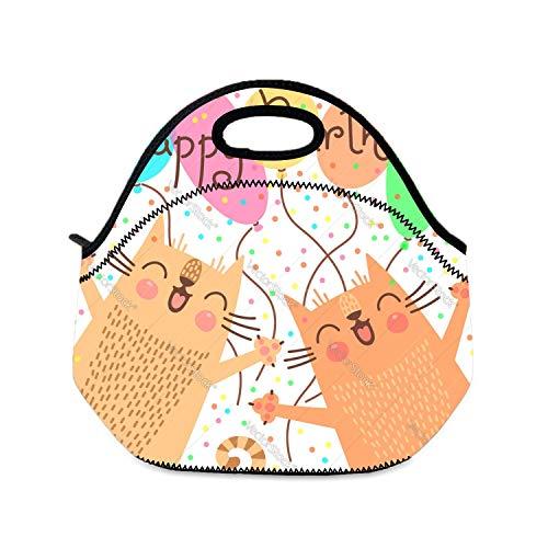 auen, süße Happy Birthday mit lustigen Kätzchen, Lunchtasche für Kinder, Picknick-Taschen, Lunchboxen für Camping, Reisen ()