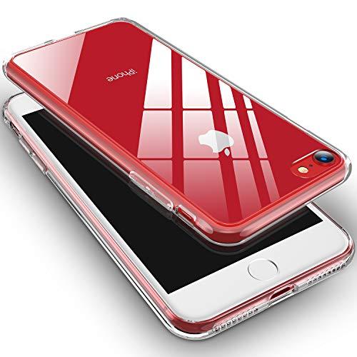 RANVOO Kompatibel mit iPhone 8 Hülle, iPhone 7 Hülle, Transparent Dünn Handyhülle Slim Hard Case Schale Hochwertig Rutschfest Hart 9H Glas Rück + Weich TPU Rahmen Bumper Case, Klar
