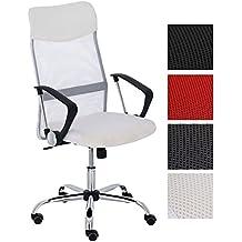 CLP Silla de oficina WASHINGTON, asiento giratorio, base muy estable de metal, hasta 140 Kg, mezcla de piel sintética y tejido en red, altura del asiento: 47 – 55 cm, 4 colores diferentes a elegir blanco