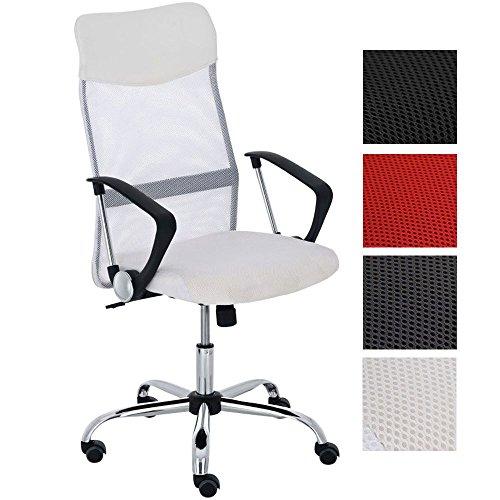 CLP WASHINGTON, giratorio, base muy estable de metal, hasta 140 Kg, mezcla de piel sintética y tejido en red, altura del asiento: 47 – 55 cm, 4 colores diferentes a elegir blanco