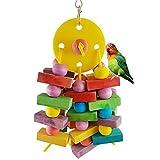 Yimosecoxiang divertimento e confortevole Pet Supplies Parrot uccelli in legno da appendere Swing Ball Block bite Chew giocattoli gabbia ciondolo Decor–colore casuale
