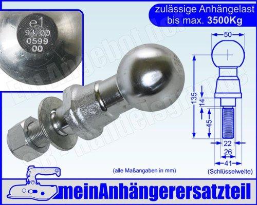 Kugelkopf Kugelkopfbolzen Zugkugel Kupplungskugel 3,5t 3500kg mit E-Prüfzeichen