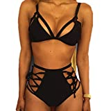 Vandot Set Bikini da donna Sexy Costumi da bagno bikini push-up Cinghia da vita alta Slim Fit Top Bottom Set bagno Beachwear, Design 4 Black, S