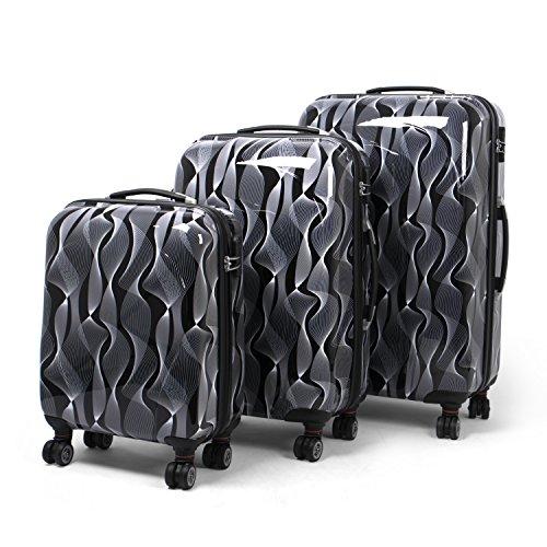 MasterGear ensemble de 3 valises Design mobiles et ultra légères - 4 roulettes (360 °) - tailles S, M & L - Noir/blanc