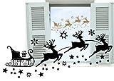 XL 100x45cm in Gold Fensterdekoration zu Weihnachten - Rentierschlitten, Rentier mit 29 Sternen und Schneeflocken 70023 - Aufkleber, Fensterbild / Fensteraufkleber, Wandtattoo Deko Sticker, Autoaufkleber, Weihnachtsdekoration, Schaufenster In- und Outdoor