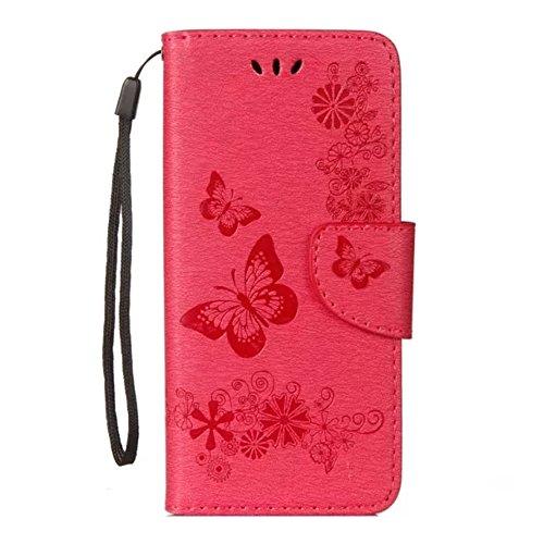 Samsung Galaxy S9 Hülle,Stilvoller Handyhülle Fall GOGME [Geprägte Relief Serien] Retro geprägte Schmetterlings Blume Schutzhülle,Einschubfächer für Karten,Magnetische Verschluss,Flip Bracket Funktion Senior PU-Leder Brieftasche Telefon-Kasten.rot