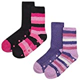 4 pairs in a pack Ladies Fleece Socks Style: Fleece lounge socks Fabric: 98% polyester, 2% elastane with rubber grip soles Colour: 4 assorted colours per pack Size - UK 4-8 4 pairs of cosy soft socks. Each pack of 2 is wrapped in ribbon. 2 packs of 2...