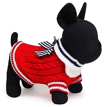 Dorapocket Pet Love Jersey Dentelle rayé Bowknot haute Colliers pulls Plus épais à col roulé en tricot pour homme Teddy Bulldogs Leopard Bow Tie Vêtements