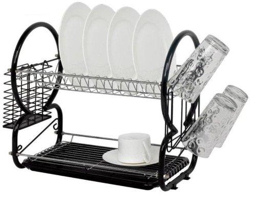 Escurridor de platos de dos niveles de acero inoxidable con escurridor de cubiertos y rejilla de vidrio - Negro