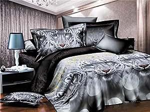 200x220 cm 3D Microfaser Bettwäsche Bettbezüge Bettwäschegarnituren mit dem Bettlaken 4tlg schöne Farben und Muster FSH270
