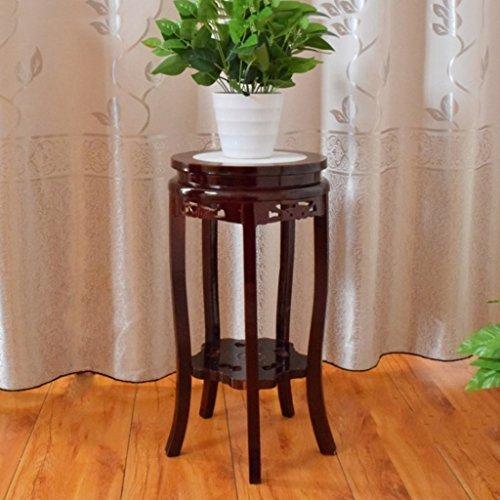 Antik Schwarz Walnuss (YXLAB Blumenständer Blumen-Stand-festes Holz-Wohnzimmer-Antiken-grünen Rettich-Boden-hölzernes Innenfischer-Behälter setzte Blumen-Topf-Blumen-Regal-Kurze Schwarze Walnuss (größe : 30 * 58cm))
