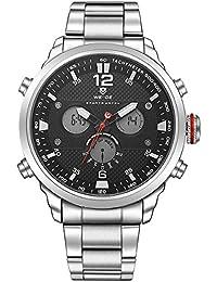 Alienwork Reloj LCD Analógico-Digital sport relojes hombre Multi-función XXL Oversized Metal negro plata WD.WH-6303-1