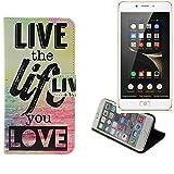K-S-Trade Für Nubia N2 Schutz Hülle 360° Wallet Case ''live Life Love'' Schutzhülle Handy Tasche Handyhülle Etui Smartphone Flip Cover Standfunktion (1x)