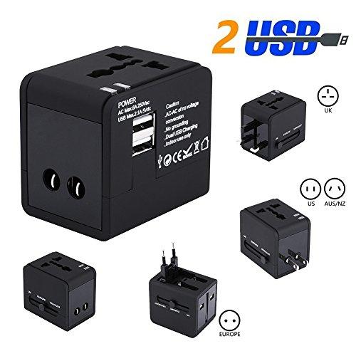 UPGOO Universal Reiseadapter, International Stecker-Adapter mit Dual USB Port Sicherheit Universal Ladegerät Einsetzbar für US/UK/EU/AU - International Usb Adapter