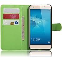 Flip Cover per Huawei Honor 5C / Honor 7 Lite / GT3, Moonmini® Custodia Wallet a Portafoglio Libro in PU Pelle con Stand, Slot & Chiusura Magnetica - Green - Pulsante Politico Vintage