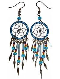 Ohrringe mit Dreamcatcher, mit Perlen und Metallsplitter - Traumfänger, Farbe:rot