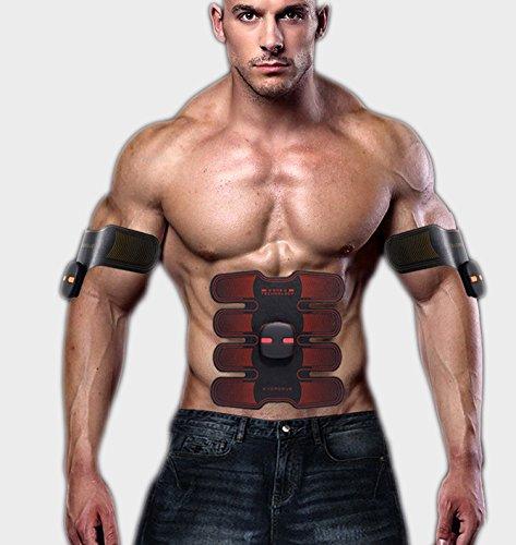 WJW EMS Bauchmuskel Trainer Body Toning Fitness Muskelaufbau Gürtel ABS Fit Gewicht Muskel Toner/Tragbares USB-Ladegerät,Red