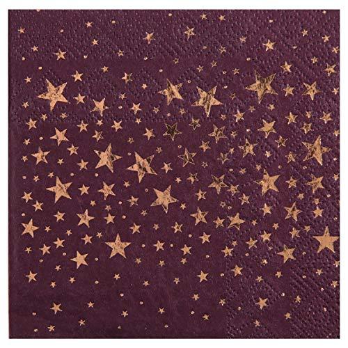 (Servietten Metallic Stars in lila Pflaume & Gold / Tisch-Dekoration / Papier-Servietten / Party, Weihnachten, Advent, Geburtstag, Silvester & Hochzeit (20 Servietten))