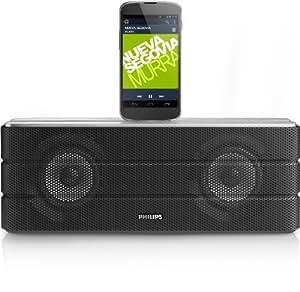Philips AS860/10 Kabelloser Lautsprecherdock für Smartphone mit micro-USB (20 Watt RMS, Bluetooth, aptX, NFC) silber/grau