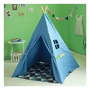 Spielzelt blau Kinder Zelte Tipi mit Fenster 100% Baumwolle Canvas Indianerzelt (blau)