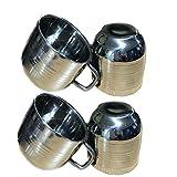 Set di 4 tazze da tè e caffè in acciaio inox, tazze da bere per bambini, dimensioni colore argento 2.9 X 2.9 pollici, giorno di Pasqua / festa della mamma / regalo del Venerdì Santo