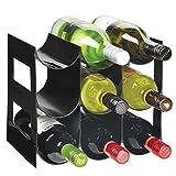 MetroDecor mDesign Práctico Estante para Botellas de Vino – Botelleros para Vino y Otras Bebidas para Guardar hasta 9 Unidades – Vinoteca de plástico de pie – Negro