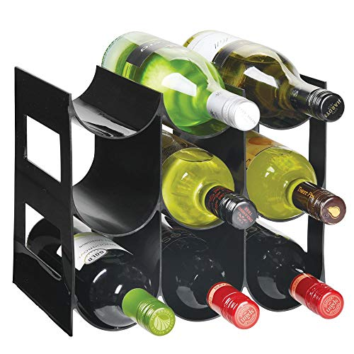 mDesign praktisches Wein- und Flaschenregal - Weinregal Kunststoff für bis zu 9 Flaschen - freistehendes Regal für Weinflaschen oder andere Getränke - schwarz