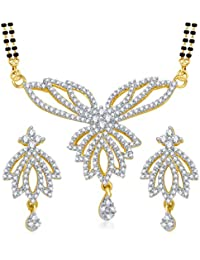 VK Jewels Sunflower Gold And Rhodium Plated Alloy Mangalsutra Set With Earrings For Women Made With Cubic Zirconia...
