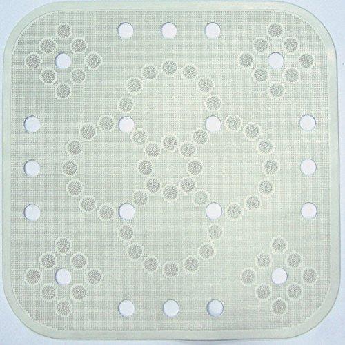 Cenni 84326 Tappeto Antiscivolo Doccia Lux 55 x 55 in Gomma, Bianco, Made in Italy