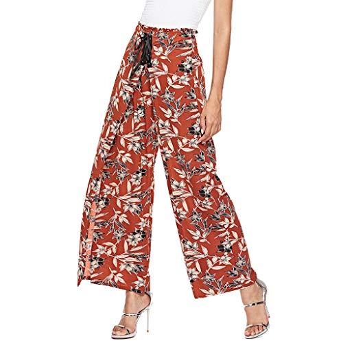 Haremshose Freizeithose Boho Hippie Hose Damen Mode Womens hohe Taille Drucken weites Bein Hose Leggings Lose Hosen Schlaghose mit Leine Briskorry -